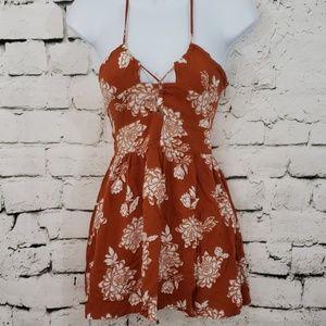 Kendall & Kylie rust orange festival mini dress